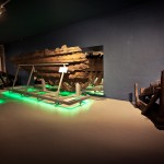 """To Board!"" exhibition: The fragment of Miedziowiec wreck' s side, 14/15th c., photo W. Jóźwiak"