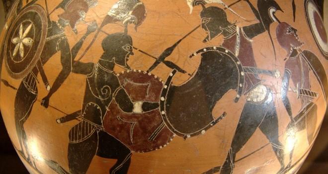 Wojownicy, Fragment malowidła czarnofigurowego na attyckiej amforze z lat 570-565 p.n.e. Artysta: Prometheus