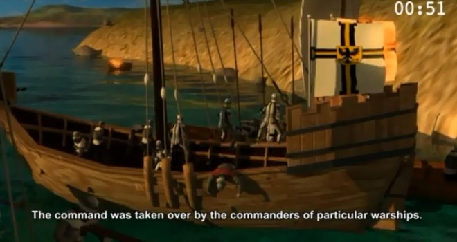 "Fragment of animated film depicting ""The Battle of Vistula Lagoon"""